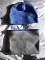 Fleece Beanie Gaiter Set Blue Gray Reverse