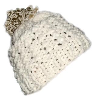 Knit Beanie Hat Pom Ski White Ivory Turmeric