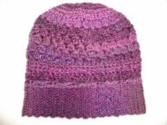 Crochet Slouchy Beanie Purple Apres Ski Hat sm