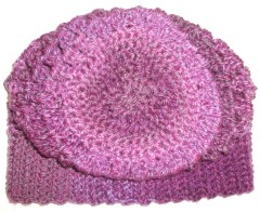 Crochet Slouchy Beanie Purple Apres Ski Hat Back