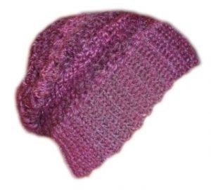 Crochet Slouchy Beanie Hat Purple Apres Ski
