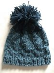 Knit Beanie Hat Cape Cod Country Blue Rib Slouch Pom