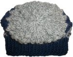 Knit Beanie Hat Navy Gray Wool Mohair Fair Isle Top