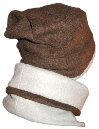 Fleece Beanie Gaiter Gray Brown Slouchy Back