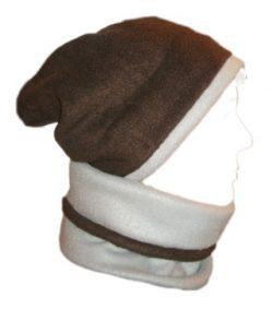 Fleece Beanie Slouchy Gaiter Combo Gray Brown Hat