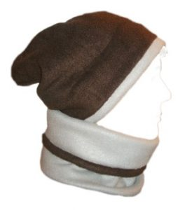 Fleece Beanie Slouchy Gaiter Combo Gray Brown Hat