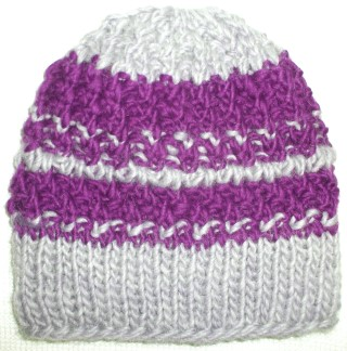 Knit Beanie Hat Ski Wool Mohair Purple Gray