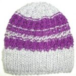 Knit Beanie Ski Hat Wool Mohair Purple Gray Double Knit Headband