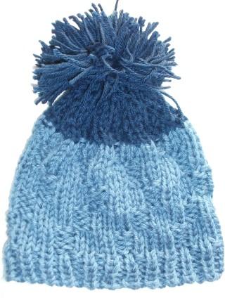 Knit Beanie Ski Hat Navy Cape Cod Blue Rib Slouchy Pom