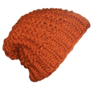 Chunky Knit Beanie Slouchy Hat Knotted Rib Rust Red Brown Orange I