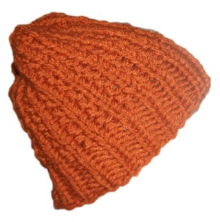 Chunky Knit Beanie Slouchy Hat Knotted Rib Rust Red Brown Orange II