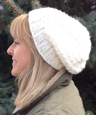 Knit Beanie Hat Off White Slouchy Acrylic Wool