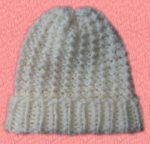 Knit Beanie Slouchy Hat Off White Knot Rib Pink Background