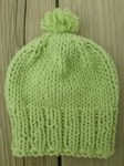 Knit Beanie Slouchy Spring Green Button in Pom Pom