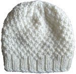 Knit Beanie Slouchy Hat Off White Moss Small
