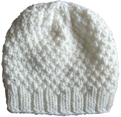 Knit Beanie Slouchy Hat Off White Moss Rib