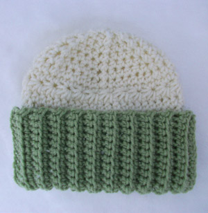 Crochet Childs Hat Beanie Green White Ivory Ribbed Girls Teens Womens