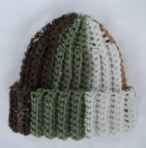 Crochet Childs Hat Beanie Brown Tan Green Aran Ribbed Boys Teens