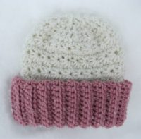 Crochet Childs Hat Beanie Pink White Ivory Ribbed Girls Teens Womens