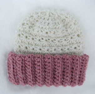 Crocheted Childs Hat Beanie Rose Pink White Ivory Ribbed Teens Women