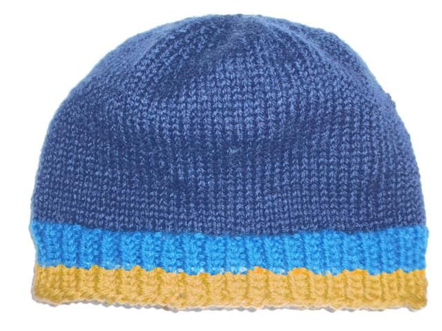 2740a57ff45 Blue Goldenrod Navy Snaggletooth Banded Wool Hand Knit Beanie Hat Men s
