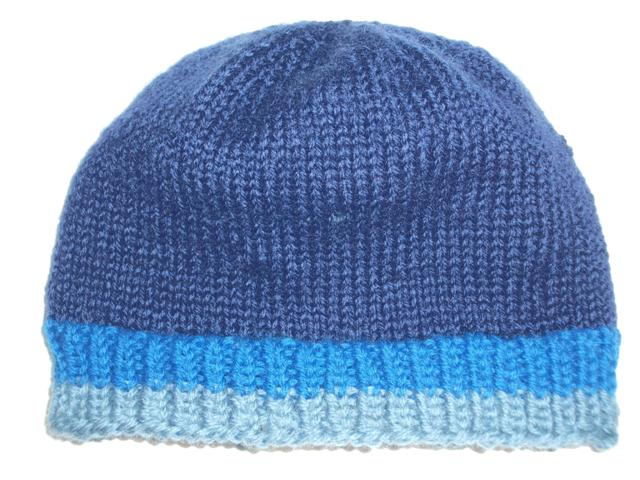 2e01dc1f2d9 Blue Snaggletooth Banded Wool Hand Knit Beanie Hat Men s Teens ...