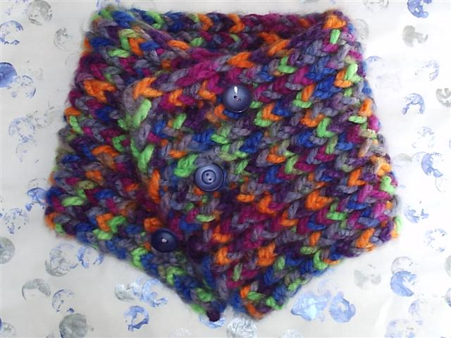 Loom Knit Cowl Braided Button Multicolor Blue And White House