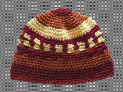 Crocheted Beanie Kufi Rust Red Yellow Gold Ochre Acrylic Blue And