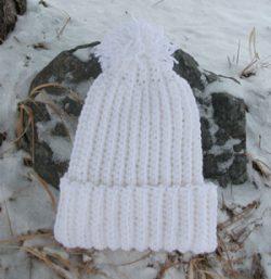 Crochet Beanie Slouchy Hat Ski Ribbed Pom White Ivory Aran