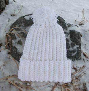 58ef5428b5e Crochet Beanie Slouchy Hat Ski Ribbed Pom White Ivory Aran « Blue ...