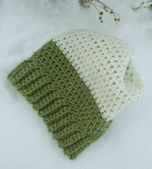 96c090cd0e047 Crochet Beanie Slouchy Hat Ski Green Aran Color Block « Blue and ...