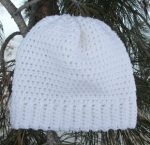 Crochet Beanie Slouchy Hat Ski Winter White Ivory Aran Wool