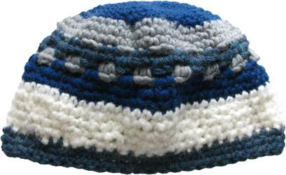Blue Grey Patterned Stripe Crocheted Beanie Hat Men Women Teens ... 7b493a358d1