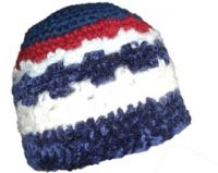 crochet-hat-blue-red-white-purple-chenille-web