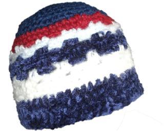 Blue Red Purple Chenille Pattern Stripe Crochet Beanie Hat Kufi Boys ... 62b36163bd8