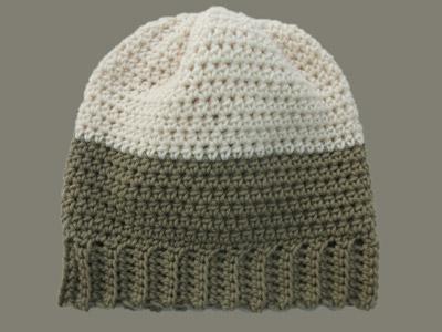 d6c0b98c3 Crochet Slouchy Beanie Hat Taupe Aran Color Block