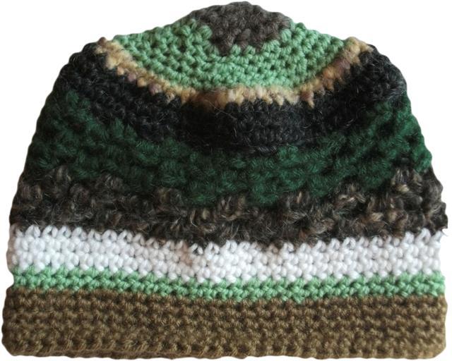 ead7bb57c Rocky Mountain Green Tan Taupe Brown White Crochet Beanie Hat