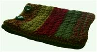 iPad cover red ochre muddy green crocheted