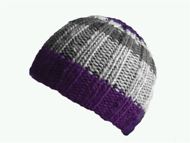 1cf7e791bd6 Purple Gray Stripe Rib Wool Knit Beanie Hat Tuque « Blue and White ...
