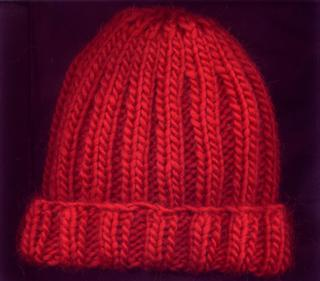 Double Rib Deep Red Women s Hand Knit Wool Hat « Blue and White ... 23288f9bc86