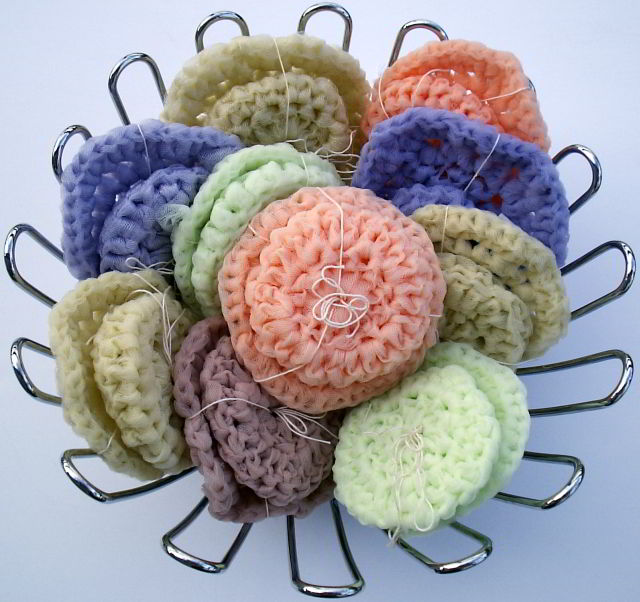Nylon Tulle Net Scrubbies Crocheted Small Medium Large Blue And