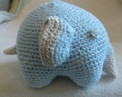 elephant amigurumi blue ecru stuffed toy