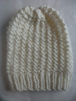 knit beanie slouchy off white knot rib womens teens