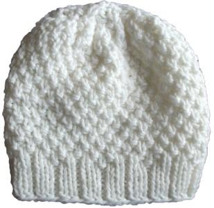 b3dc96de63614c Knit Beanie Hat Slouchy Off White Pebbly Stitch Wool Acrylic « Blue ...
