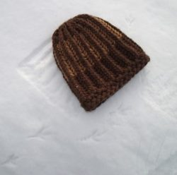 Knit Beanie Brioche Hat Chocolate Brown Caramel Gold Tracks