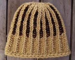 Knit Beanie Brioche Hat Golden Oak Red Mahogany Black