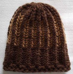 Knit Beanie Brioche Hat Milk Chocolate Brown Caramel Gold Tracks