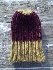 Knit Beanie Brioche Watch Hat Chianti Honey Gold Oak Reverse