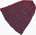 knit beanie slouchy hat chianti fuschia short