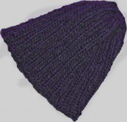 Knit Beanie Slouchy Hat Navy Blue Short